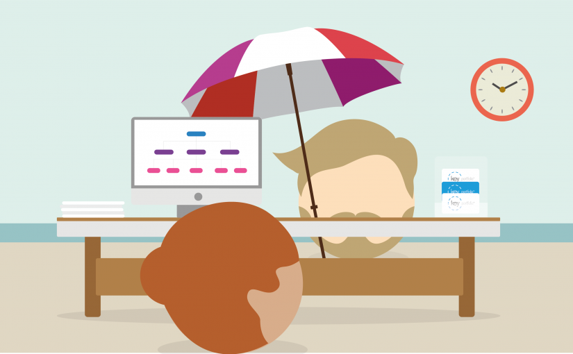 recruiter and candidate at a desk under an umbrella